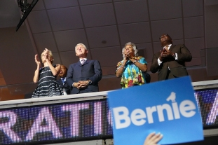 People kept looking behind me. I looked up and saw Pres. Clinton on the balcony above during Bernie's speech.