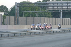 The cops at the front of the motorcade