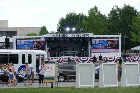 MSNBC's setup on the main green