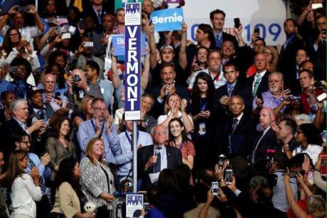 Vermont's delegation. You can find me in the top right and Mike just above the Bernie sign.